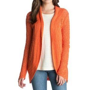 Roxy Orange Knit Open Front Cardigan
